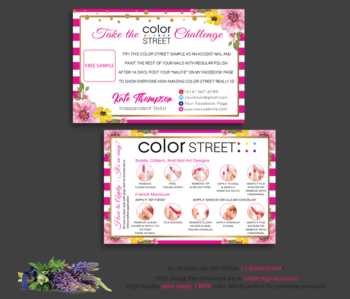Personalized Color Street Twosie Card, Pink Floral Color Street Challenge Card