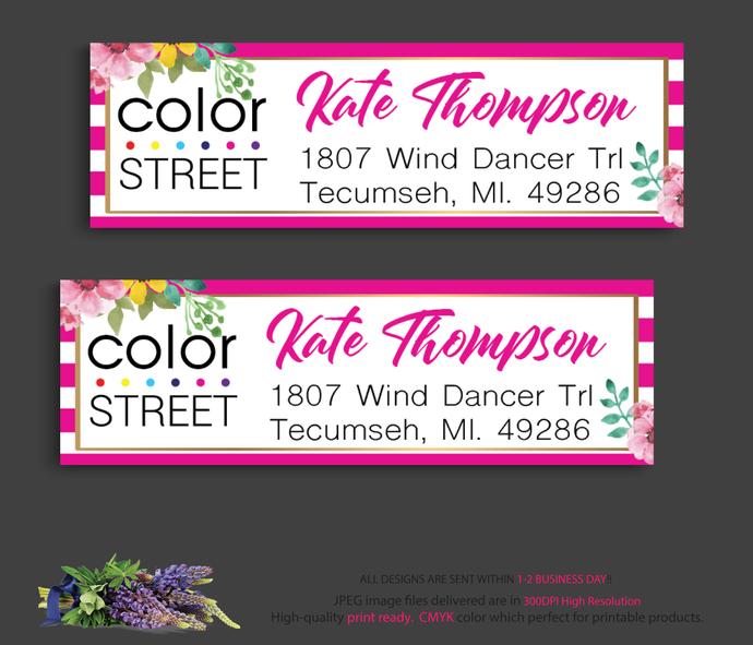 Color Street Address label, Color Street Return Address Label CL17