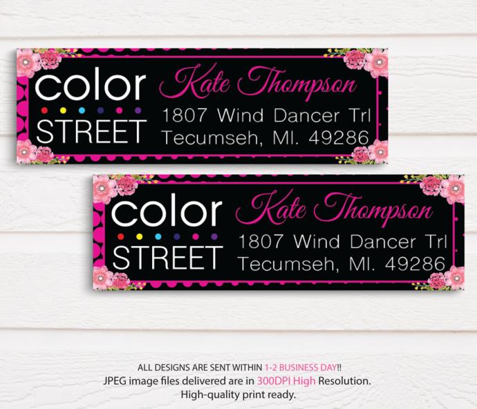 Color Street Address label, Color Street Return Address Label CL19
