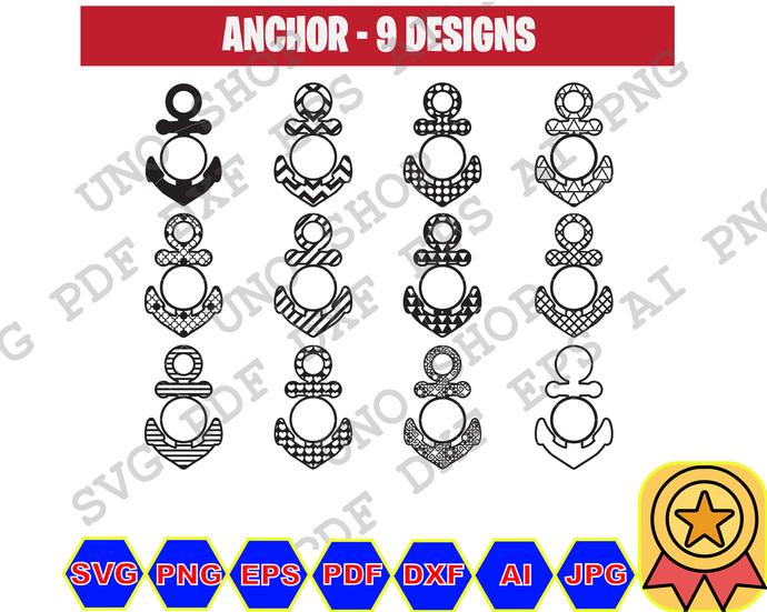 Anchor svg , Monogram,Bundle File,Silhouette,Cricut Svg, Print for shirt, Cut