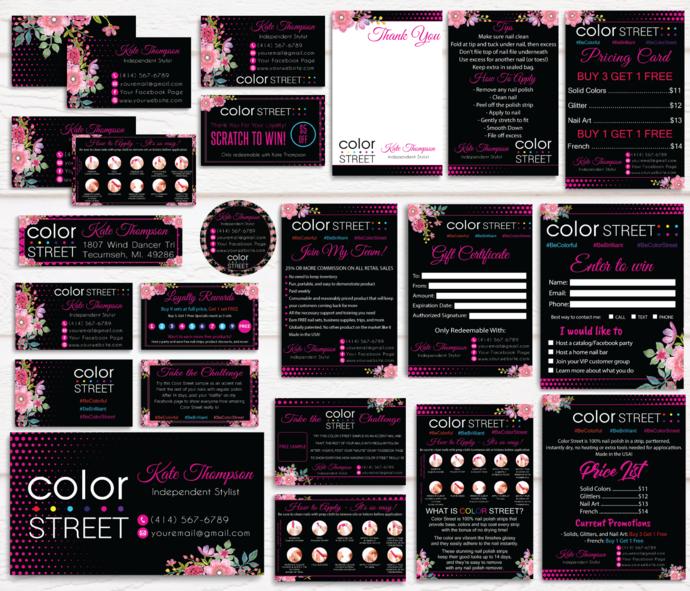 Floral Color Street Bundle, Personalized Color Street Business Card CL19