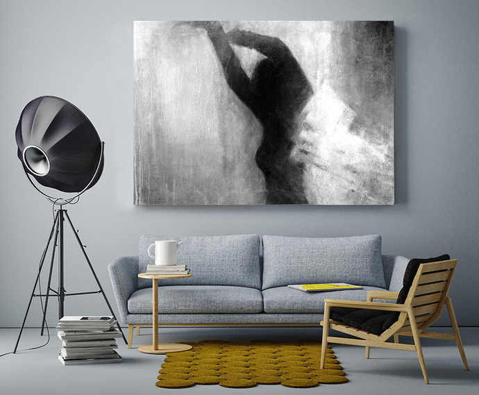 Instant download, large digital print, figure painting, Black and white, dreamy