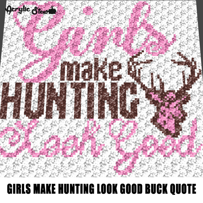 Girls Hunting Look Good Country Western crochet graphgan blanket pattern;