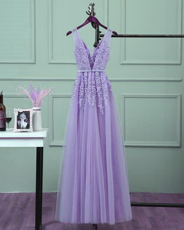Charming Tulle Light Purple Long Formal Gown, Prom Dress 2020