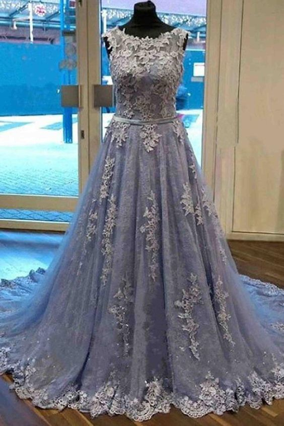 Grey Tulle with Lace Round Neckline Long Party Dress, Grey Prom Dress 2020