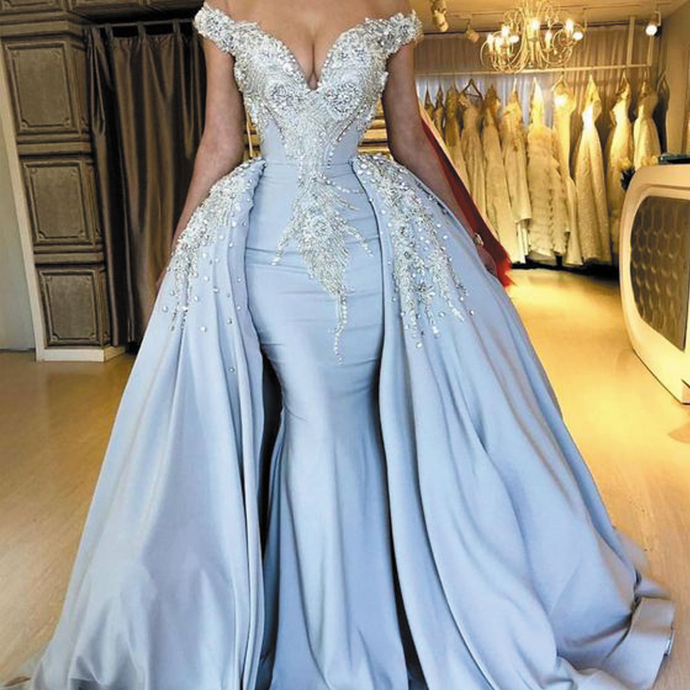 blue prom dresses with detachable skirt crystal lace appliqué off the shoulder