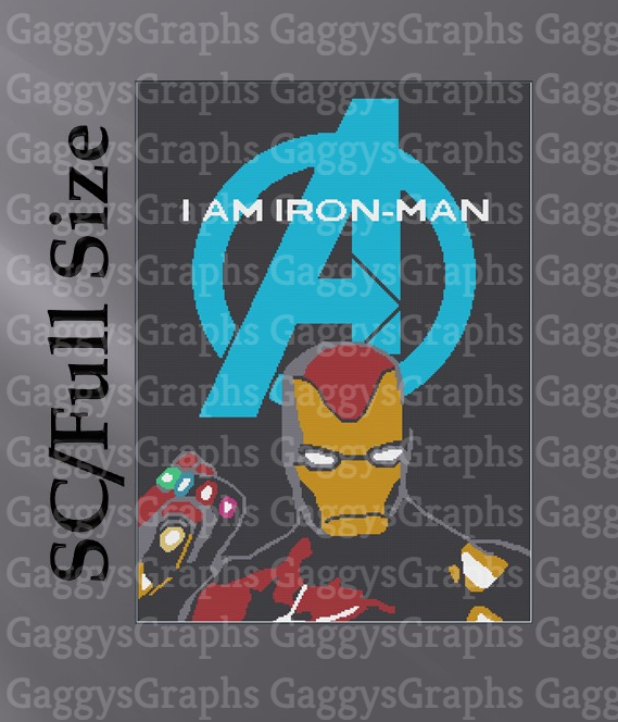 Full Size SC 220x300, Iron Man, Graph and color coded block instruction