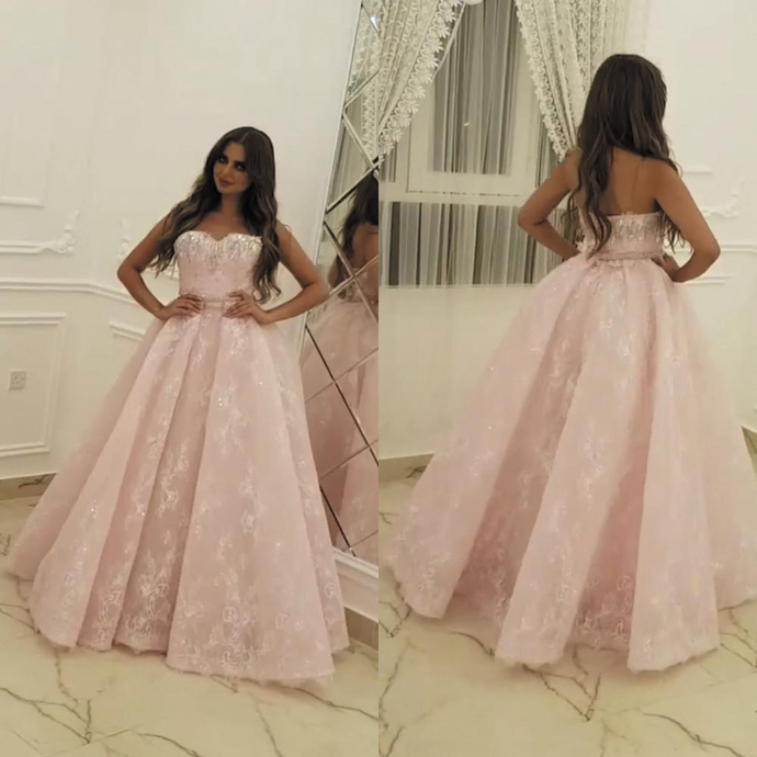 pink prom dresses lace appliqué elegant sparkly beaded sweetheart neck ball gown