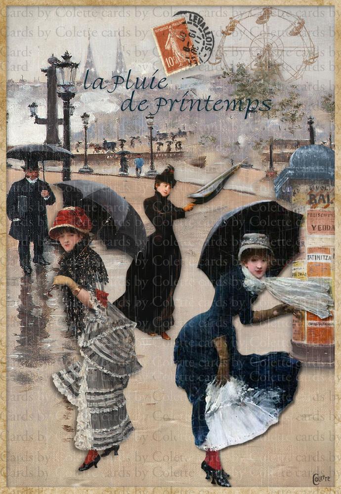 Paris Rain Digital Collage Greeting Card2648