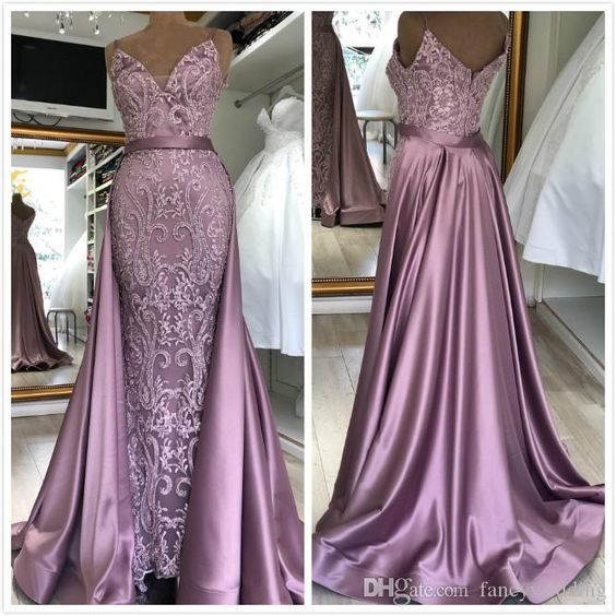 detachable skirt prom dresses lace applique 2020 dusty pink beaded elegant prom
