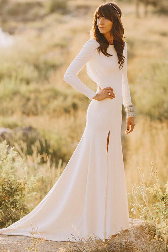 Mermaid Modest Wedding Dresses With Long Sleeves Boat Neck Low Back Simple