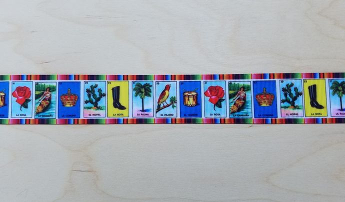 "1.5"" Grosgrain LOTERIA Sarape Ribbon Serape senorita day of the dead dia de los"