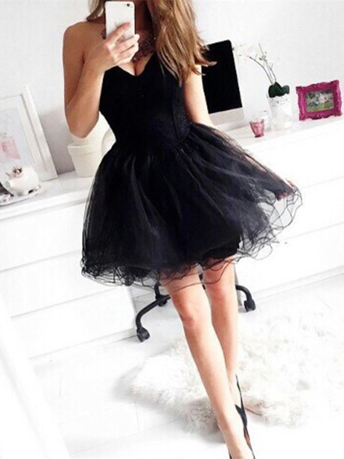 Cute Sweetheart Black Short Prom Dresses, Short Prom Dress