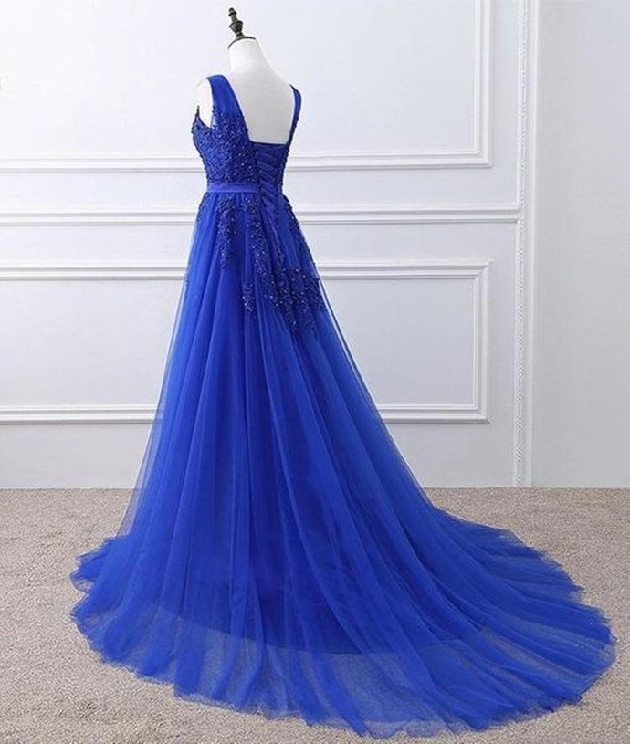 Blue Tulle A-line Party Gown, New Party Dress 2020