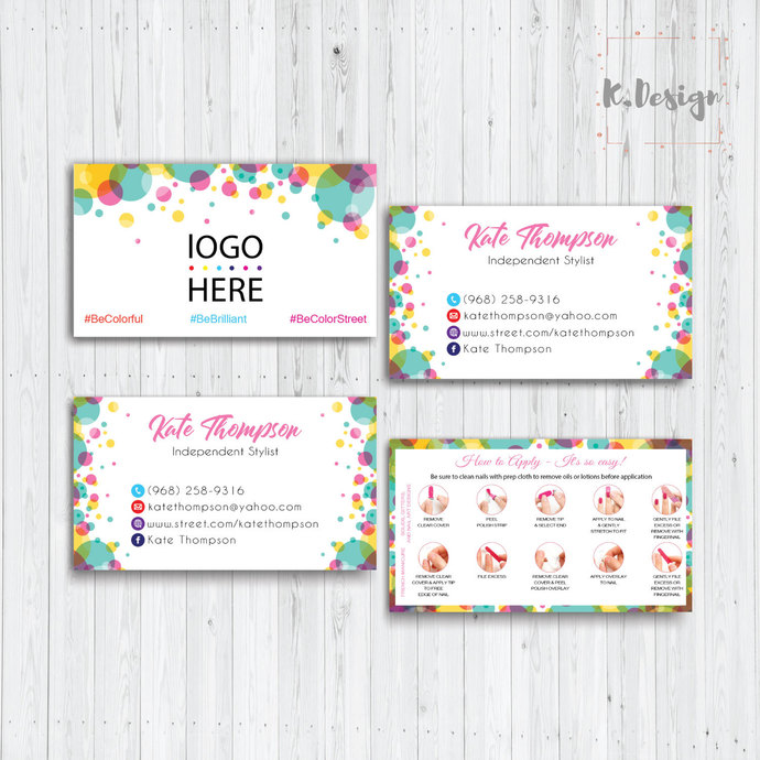 COLOR STREET BUSINESS CARDS, PERSONALIZED COLOR STREET APPLICATION CARDS CL20