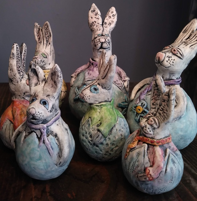A springtime friend - bunny rabbit - gourd - paperclay - pastel - dressed in a