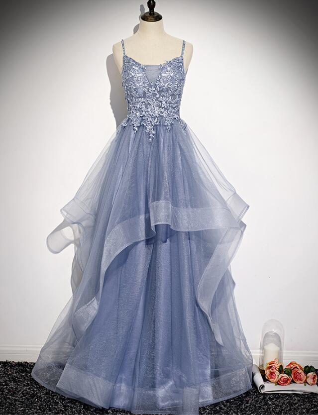 Beautiful Blue Tulle A-line Floor Legnth Party Gown, Blue Prom Dress 2020