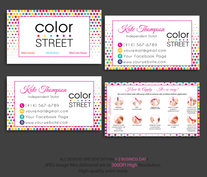 COLOR STREET BUSINESS CARDS, PERSONALIZED COLOR STREET APPLICATION CARDS CL21