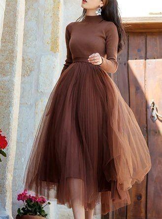 Sexy Custom  Skirt, Street Style Skirt,A-Line Skirt,Spring Autumn Skirt ,Gray
