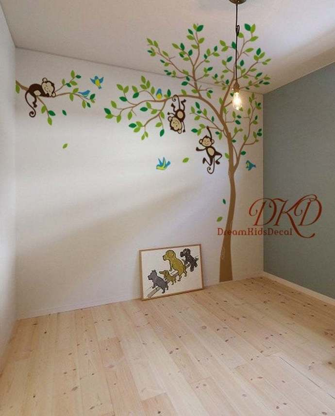 Removable Wall Sticker Tree Wall Decal with Jungle Monkeys, monkeys hanging from