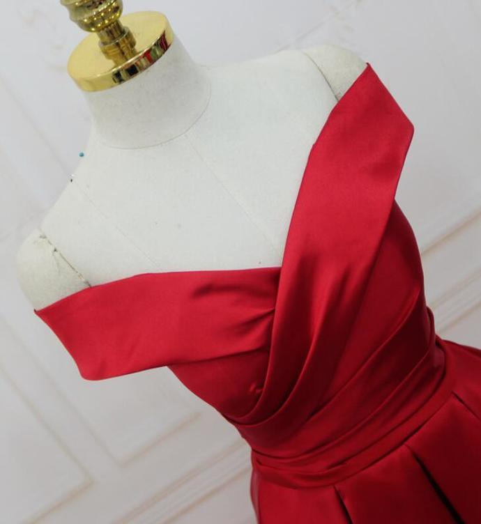 Red New off Shoulder Satin gown, Red Prom Dress 2020