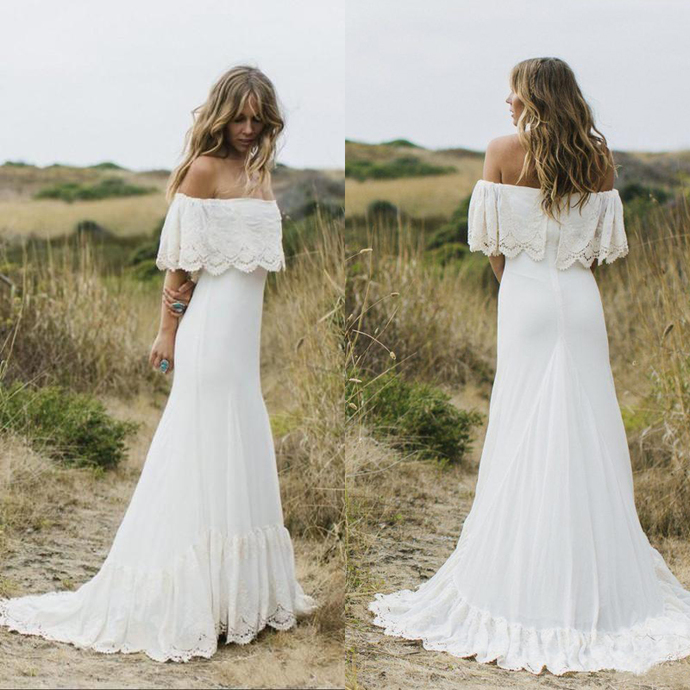 Vintage Sexy Boho Country Style Wedding Dresses Off the Shoulder White Lace