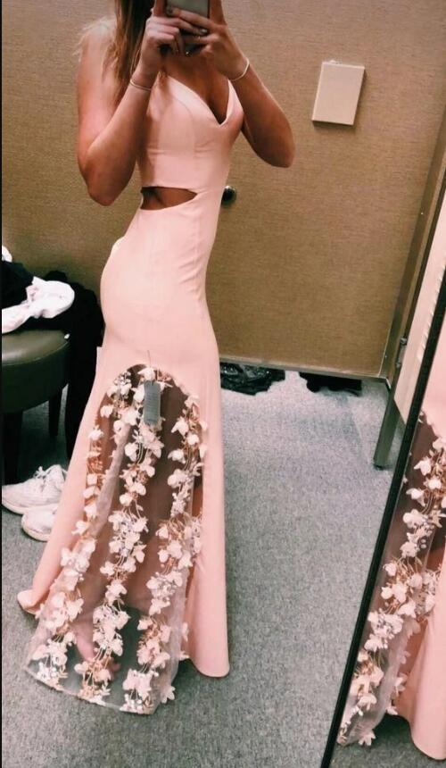 Beautiful Flowers Pink Long Party Dress, Pink Prom Dress 2020