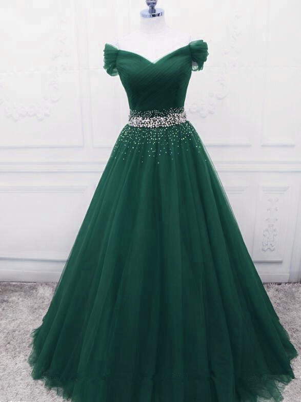 Beautiful Dark Green Tulle Long Party Gown, Green Prom Dress 2020