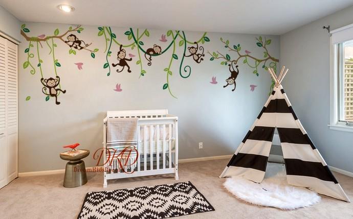 Jungle Decals, Jungle Monkey Wall Decals, Swinging Monkey, Nursery Wall Decal,