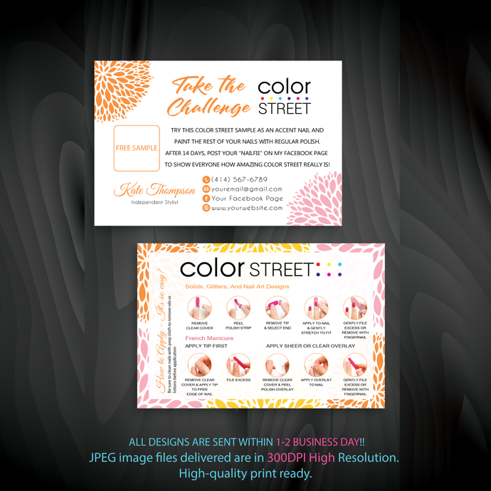 Personalized Color Street Twosie Card, Color Street Challenge Card CL22