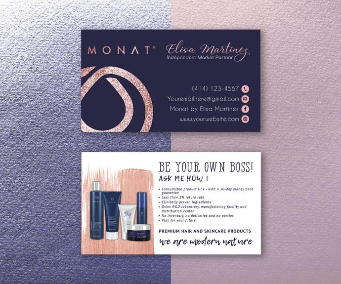 Personalized Monat Business Cards, Monat Business Cards, Monat Care Instruction