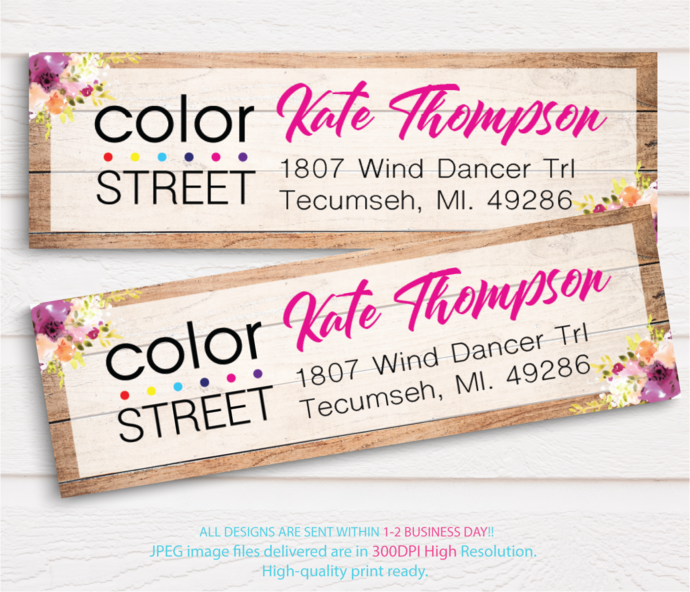 Color Street Address label, Color Street Return Address Label CL23