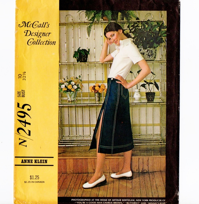 McCall's 2495 Anne Klein Misses Blouse, Skirt 70s Vintage Sewing Pattern Size 10