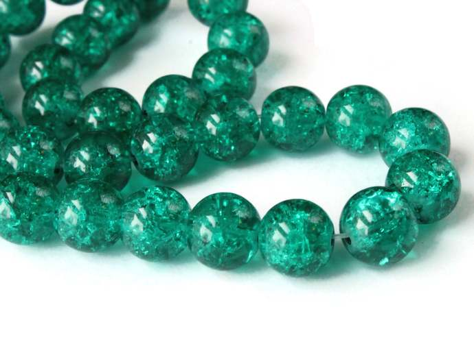 10mm Emerald Green Crackle Glass Round Beads Ball Beads Sphere Beads Jewelry