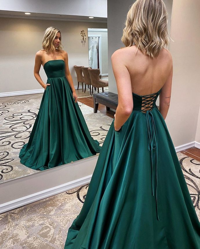 Green Prom Dress,Satin Prom Gown,Strapless Evening Dress,A-Line Prom Gown 0168