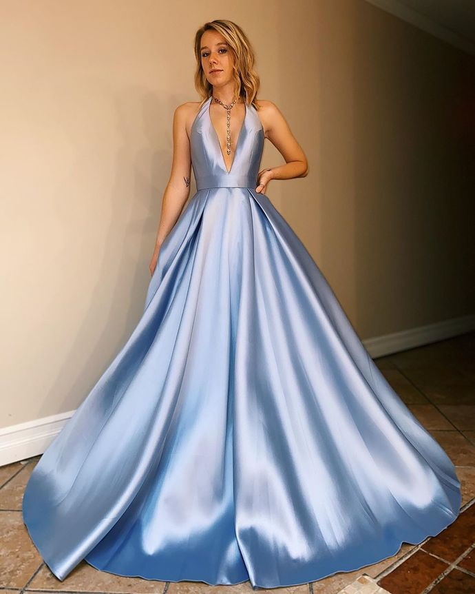 Blue Prom Dress,Satin Prom Gown,Halter Evening Dress,A-Line Prom Gown 0169