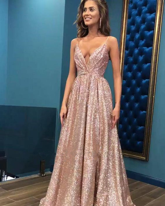 Charming Prom Dress,Sequined Prom Gown,Spaghetti Straps Evening Dress,A-Line