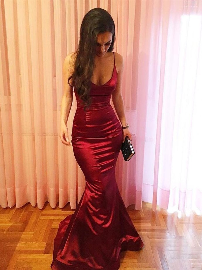 Charming Burgundy Mermaid Straps Evening Gown, Long Prom Dress 2020