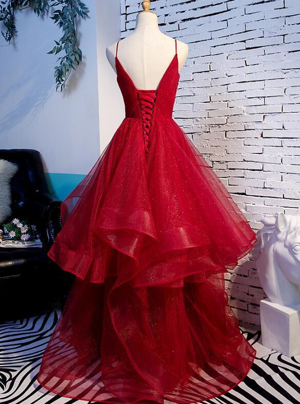Gorgeous Wine Red Straps Long Layers Party Dress, Prom Gown 2020