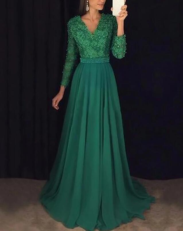 Beautiful Green Long Sleeves Prom Dress, A-line Party Dress 2020