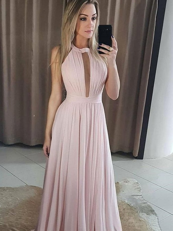Light Pink Chiffon Prom Dresses, Long Pink Bridesmaid Dress