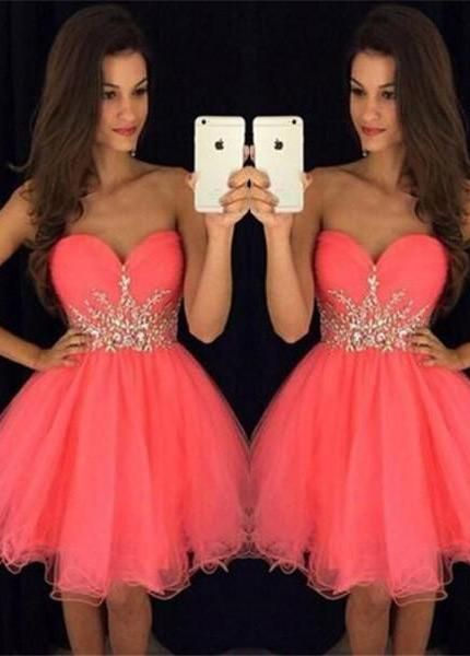 coral prom dresses short beaded sweetheart neck tulle cheap graduation dresses