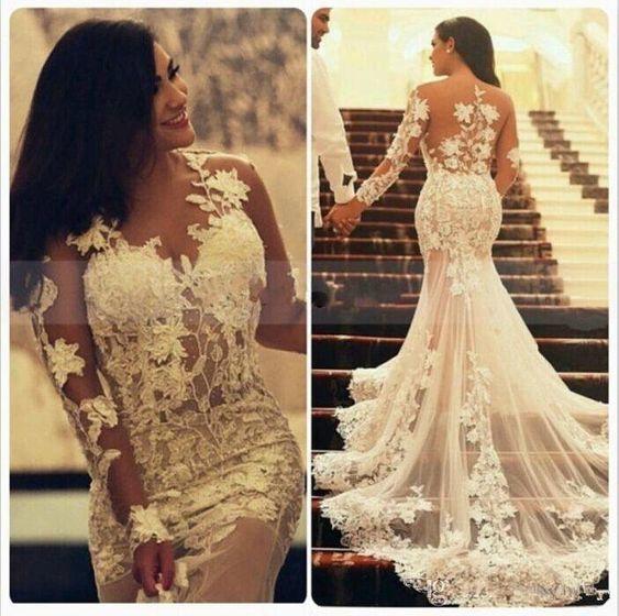 mermaid wedding dresses for bride lace appliqué long sleeve elegant modest cheap