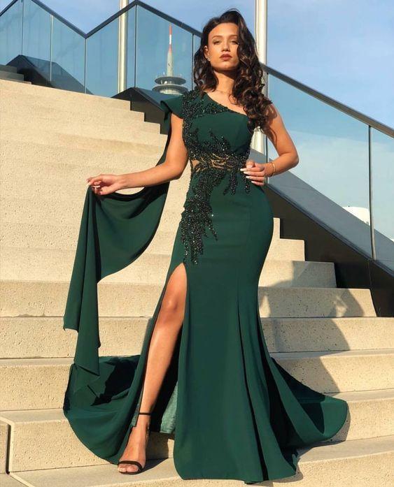 green beaded evening dresses long 2020 mermaid elegant modest one shoulder cheap