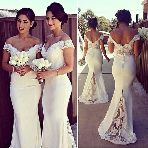 lace bridesmaid dresses long mermaid off the shoulder elegant ivory wedding