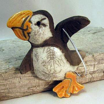 Raku Pottery Clay Puffin Ornament Flying ceramic bird with crackle glaze
