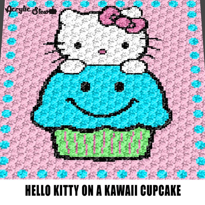 Hello Kitty Sitting On A Cupcake Kawaii crochet graphgan blanket pattern;