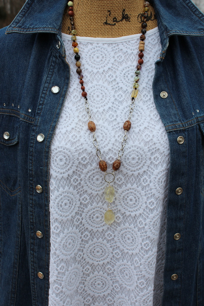Citrine The Sunshine Necklace Long Hand knot Beaded Jewelry with pendant by