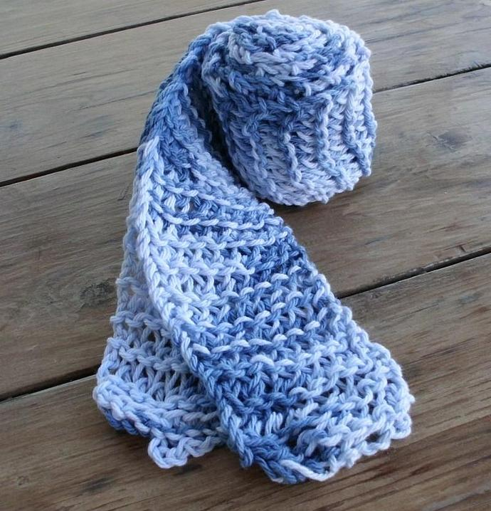Two Blue Cotton Knit Scarves Scarf