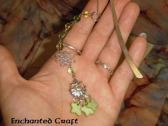 Beaded green floral Bookmark